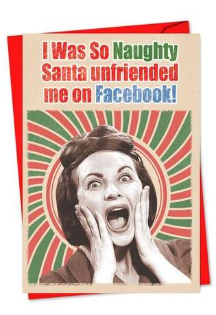 Funny Christmas Printed Greeting Card from NobleWorksCards.com - Santa Unfriended