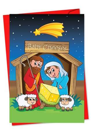 Hilarious Christmas Paper Card from NobleWorksCards.com - Baby Cheeses