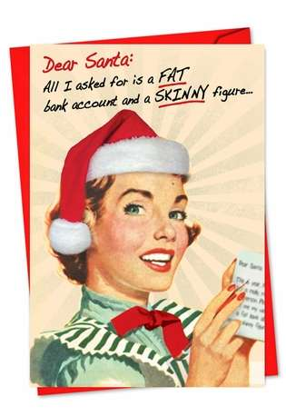 Hysterical Christmas Printed Card from NobleWorksCards.com - Fat Account Skinny Figure