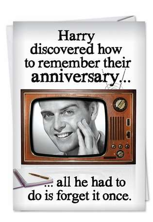 Funny Anniversary Paper Greeting Card from NobleWorksCards.com - Forget Anniversary Once