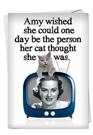 Funny Birthday Printed Greeting Card from NobleWorksCards.com - Purrrfect Person