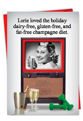Funny Christmas Printed Card from NobleWorksCards.com - Champagne Diet