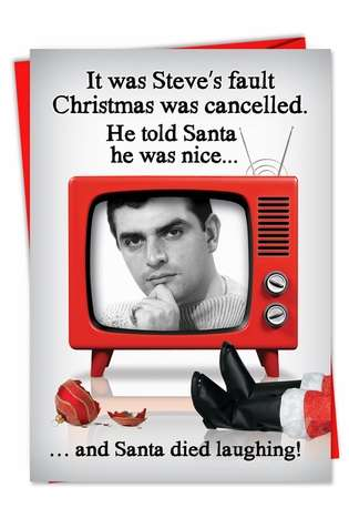 Humorous Christmas Printed Greeting Card from NobleWorksCards.com - Christmas is Cancelled