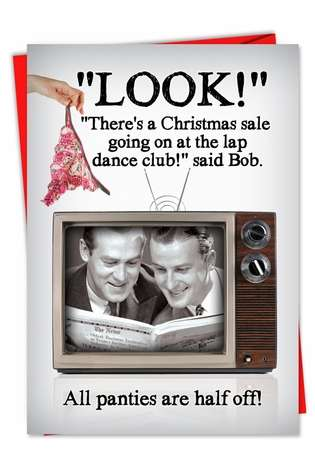 Hilarious Christmas Printed Card from NobleWorksCards.com - Lap Dance Half Off