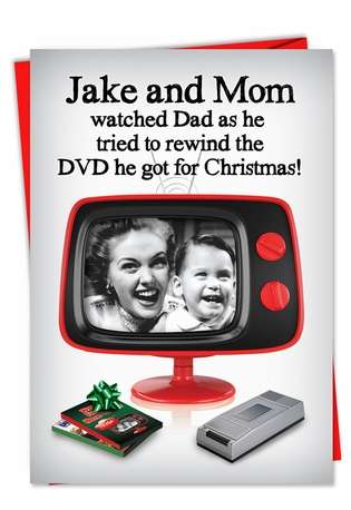 Funny Christmas Paper Card from NobleWorksCards.com - Rewind the DVD