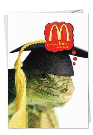 Funny Graduation Printed Greeting Card from NobleWorksCards.com - Lizard
