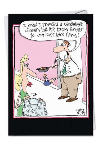 Hilarious Valentine's Day Printed Card by Gary McCoy from NobleWorksCards.com - Candlelight Dinner