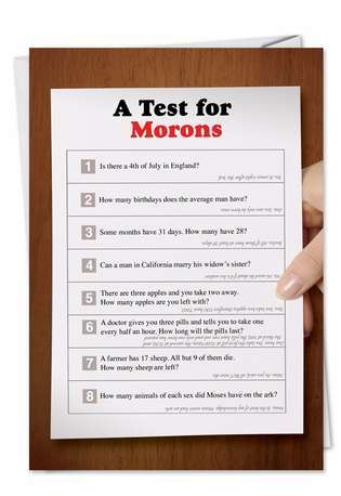 Hysterical Graduation Greeting Card from NobleWorksCards.com - Test For Morons
