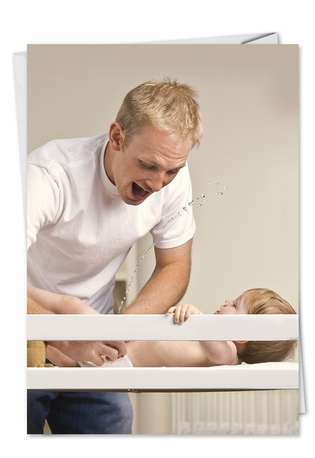Humorous Father's Day Paper Greeting Card from NobleWorksCards.com - Baby Pee
