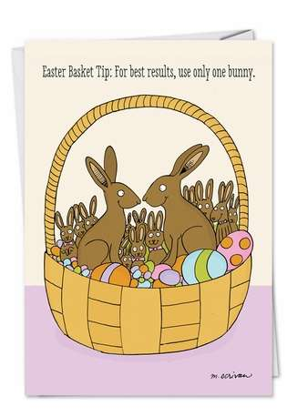 Humorous Easter Paper Card by Maria Scrivan from NobleWorksCards.com - Bunny Basket