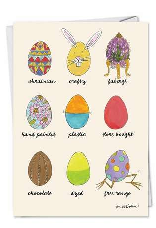 Funny Easter Printed Card by Maria Scrivan from NobleWorksCards.com - Egg Types
