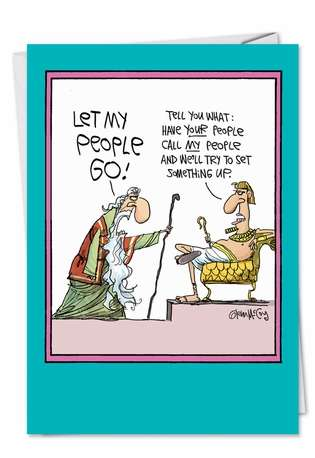 Funny Easter Greeting Card by Glenn McCoy from NobleWorksCards.com - Let My People Go