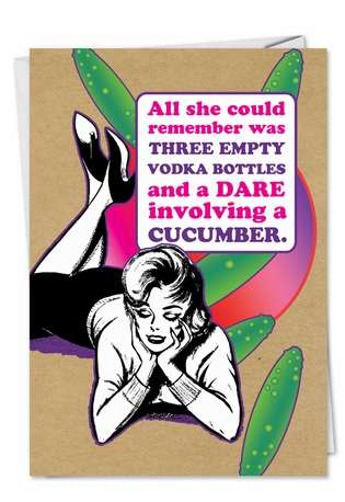 Humorous Valentine's Day Paper Card from NobleWorksCards.com - Dare Cucumber