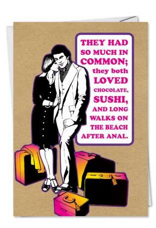 Humorous Valentine's Day Printed Greeting Card from NobleWorksCards.com - Walk On Beach