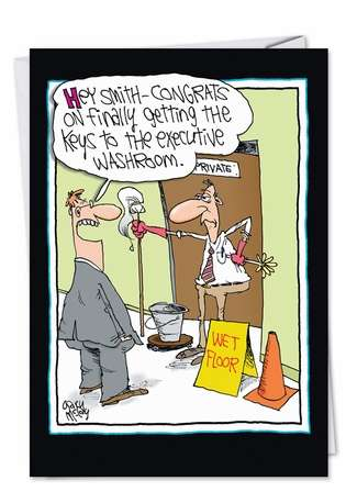 Funny Congratulations Paper Greeting Card by Gary McCoy from NobleWorksCards.com - Executive Washroom