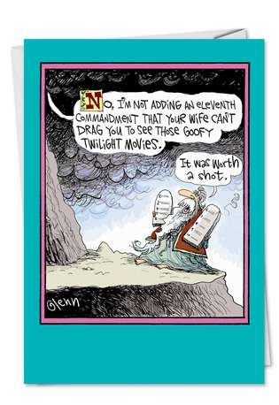 Humorous Birthday Printed Greeting Card by Glenn McCoy from NobleWorksCards.com - Twilight Commandment Request