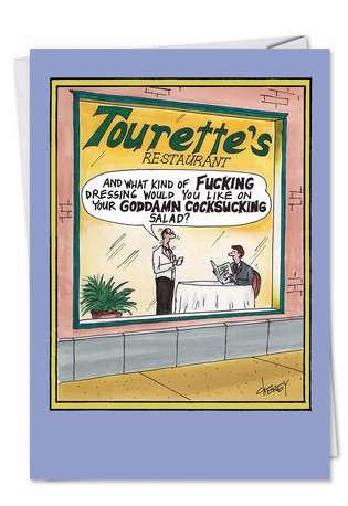 Humorous Birthday Paper Greeting Card by Tom Cheney from NobleWorksCards.com - Tourettes Restaurant