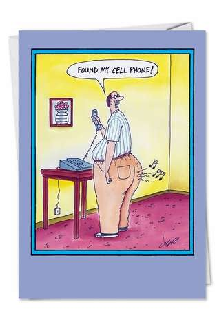 Humorous Birthday Printed Card by Tom Cheney from NobleWorksCards.com - Found Cellphone