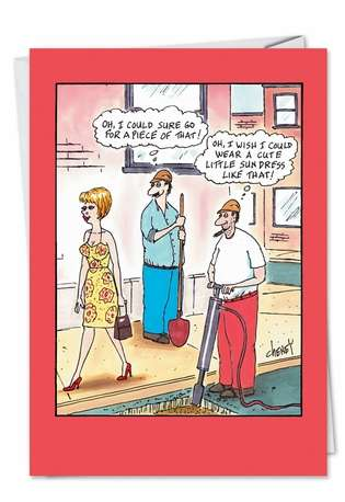 Humorous Birthday Paper Greeting Card by Tom Cheney from NobleWorksCards.com - Sun Dress