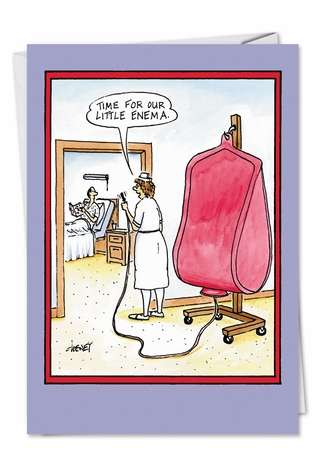 Humorous Get Well Printed Card by Tom Cheney from NobleWorksCards.com - Little Enema