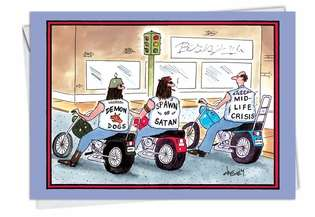 Humorous Birthday Greeting Card by Tom Cheney from NobleWorksCards.com - Mid Life Crisis