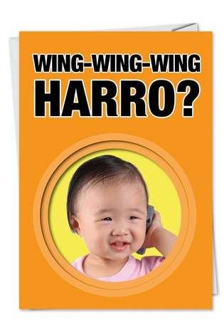 Funny Birthday Paper Greeting Card from NobleWorksCards.com - Wing Wing Wing Harro