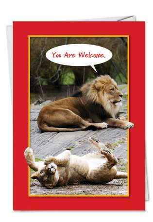 You Are Welcome: Humorous Birthday Paper Card