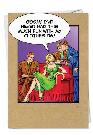 Funny Thank You Printed Greeting Card by John Lustig from NobleWorksCards.com - Fun With Clothes On