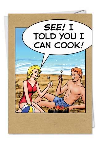 Funny Birthday Paper Greeting Card by John Lustig from NobleWorksCards.com - Can Cook