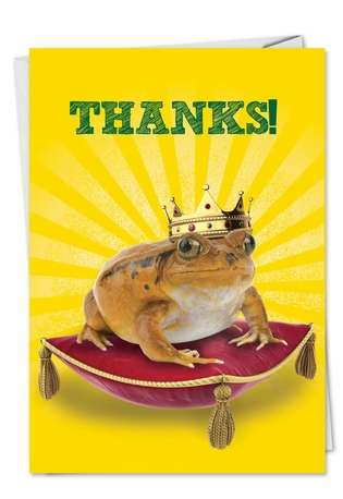 Funny Thank You Paper Greeting Card from NobleWorksCards.com - Frog Prince