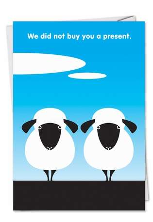 Hysterical Birthday Paper Greeting Card by Thomas Fuchs from NobleWorksCards.com - Two Sheep