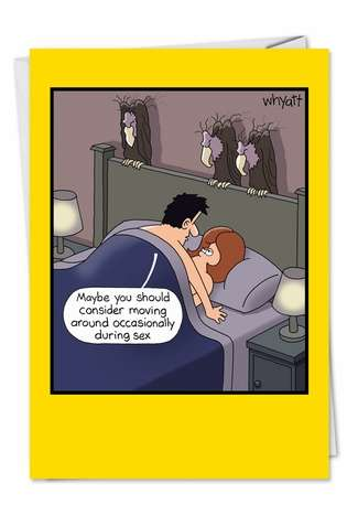 Funny Birthday Paper Card by Tim Whyatt from NobleWorksCards.com - Dead in Bed