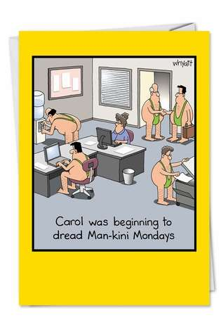 Funny Birthday Printed Greeting Card by Tim Whyatt from NobleWorksCards.com - Man-kini