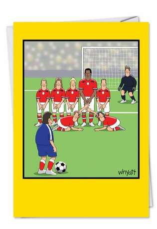 Funny Birthday Paper Greeting Card by Tim Whyatt from NobleWorksCards.com - Soccer Balls