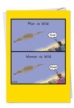 Hilarious Birthday Printed Card by Tim Whyatt from NobleWorksCards.com - Woman Vs Wild