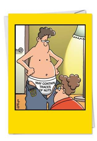 Funny Birthday Greeting Card by Tim Whyatt from NobleWorksCards.com - Traces Of Nuts