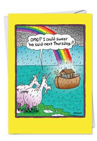 Hysterical Birthday Paper Greeting Card by Randall McIlwaine from NobleWorksCards.com - Unicorns Miss Ark