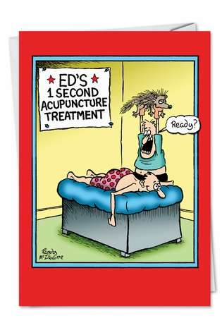 Hilarious Get Well Paper Card by Randall McIlwaine from NobleWorksCards.com - Porcupine Acupuncture