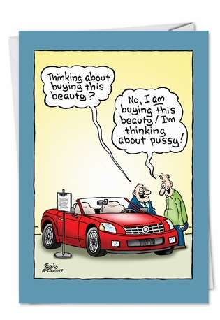Funny Birthday Printed Greeting Card by Randall McIlwaine from NobleWorksCards.com - Cadillac