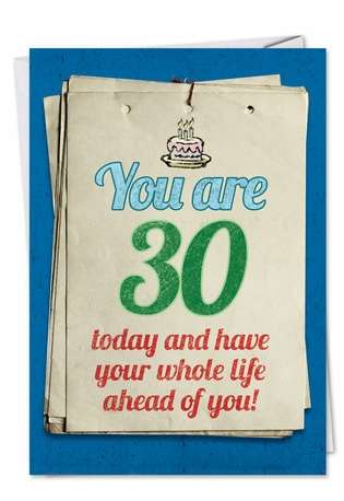 Hilarious Birthday Paper Greeting Card from NobleWorksCards.com - You are 30 Bitch