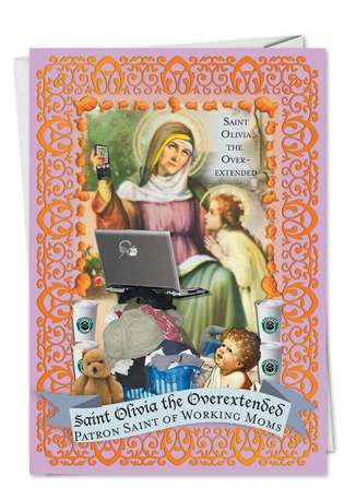 St. Olivia: Humorous Mother's Day Printed Card