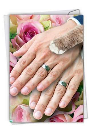 Humorous Wedding Paper Greeting Card from NobleWorksCards.com - Hands And Cat Paw Gay
