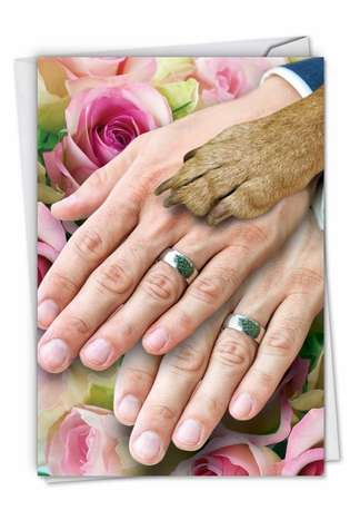 Funny Wedding Paper Card from NobleWorksCards.com - Hands And Dog Paw Gay