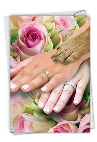 Hilarious Wedding Greeting Card from NobleWorksCards.com - Hands And Dog Paw Lesbian