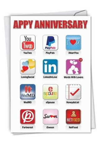 Hysterical Anniversary Printed Greeting Card from NobleWorksCards.com - Appy Anniversary