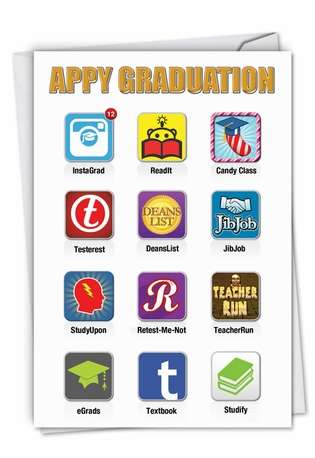 Hysterical Graduation Paper Greeting Card from NobleWorksCards.com - Appy Graduation