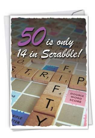 Humorous Birthday Printed Greeting Card from NobleWorksCards.com - 50 in Scrabble