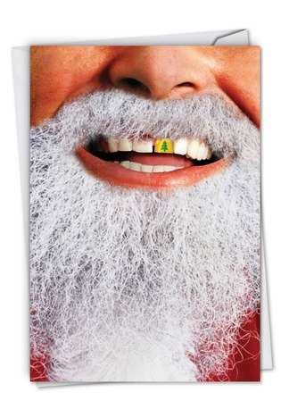 Funny Christmas Paper Card from NobleWorksCards.com - Gold Tooth Santa