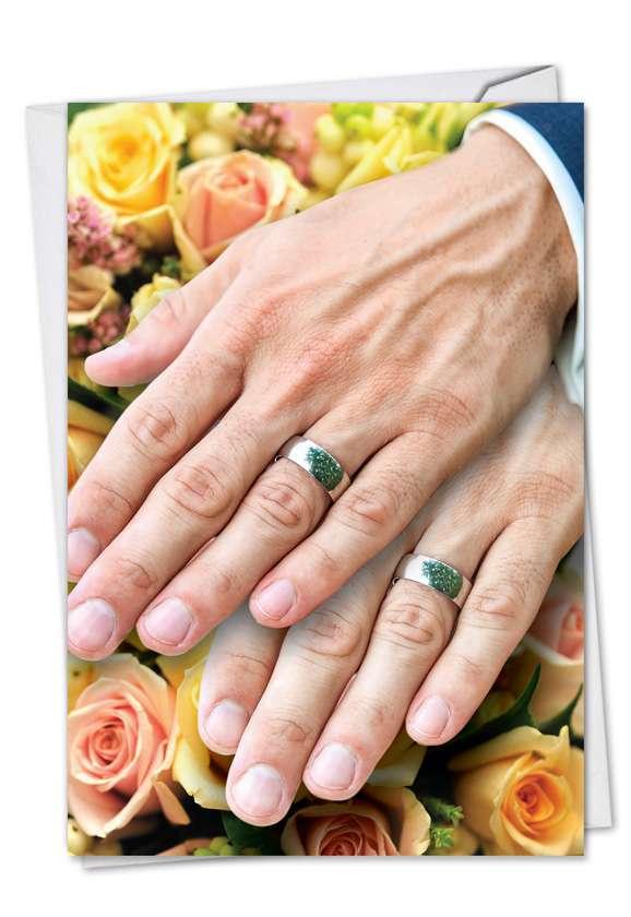 Humorous Wedding Printed Card from NobleWorksCards.com - Wedding Hands Man Man
