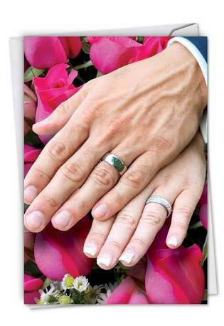 Humorous Wedding Greeting Card from NobleWorksCards.com - Wedding Hands Man Woman